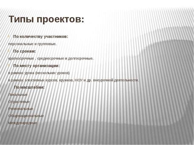 Типы проектов: По количеству участников: персональные и групповые. По срокам:...