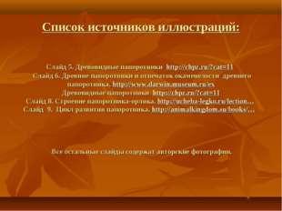 Cписок источников иллюстраций: Слайд 5. Древовидные папоротники http://chpz.r