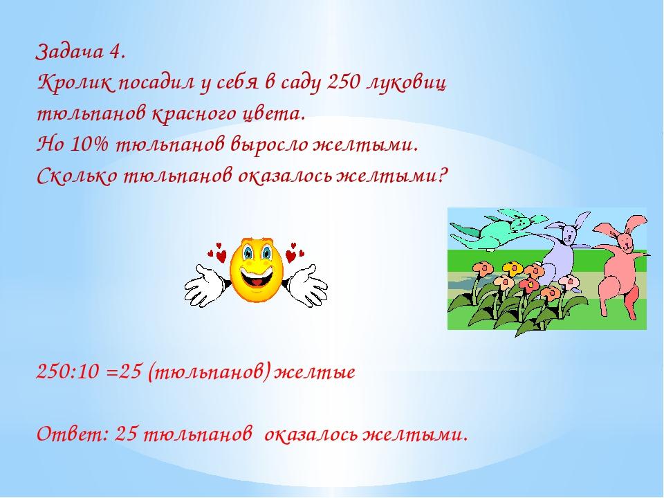 Задача 4. Кролик посадил у себя в саду 250 луковиц тюльпанов красного цвета....