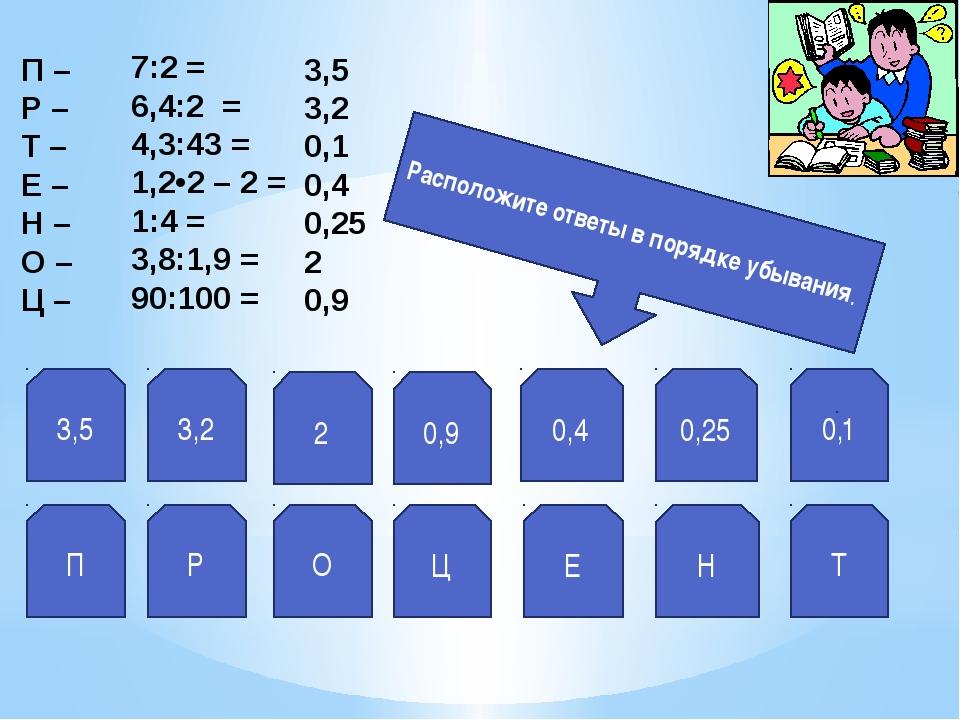 3,5 3,2 2 0,9 0,4 0,25 0,1 П Р О Ц Е Н Т Расположите ответы в порядке убывани...