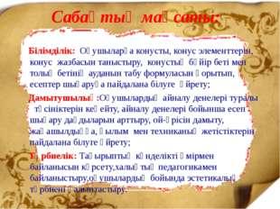 Сабақтың мақсаты: Білімділік: Оқушыларға конусты, конус элементтерін, конус ж