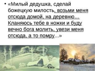 «Милый дедушка, сделай божецкую милость, возьми меня отсюда домой, на деревн