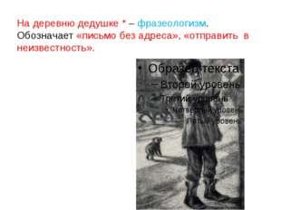 На деревню дедушке * – фразеологизм. Обозначает «письмо без адреса», «отправи