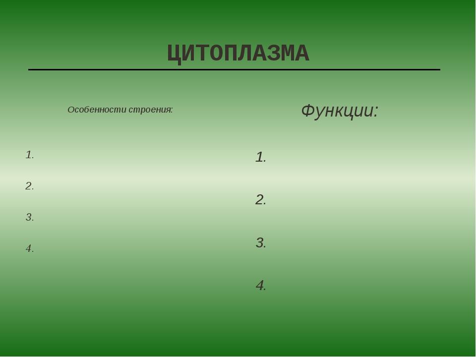 ЦИТОПЛАЗМА 1. 2. 3. 4. 1. 2. 3. 4. Особенности строения: Функции:
