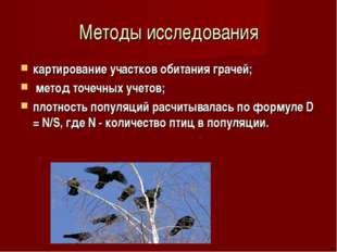 Методы исследования картирование участков обитания грачей; метод точечных уче