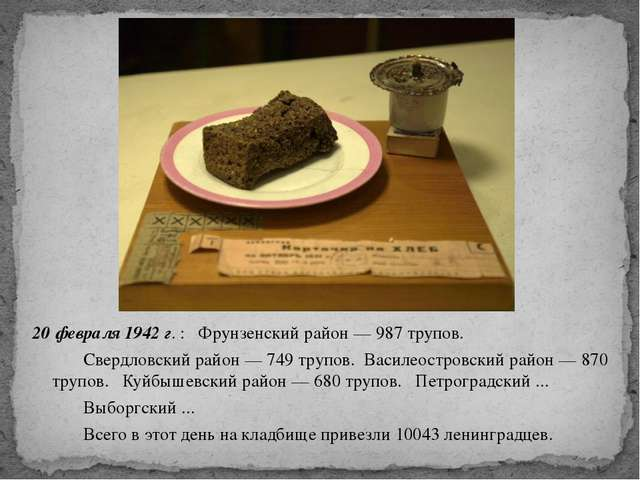 20 февраля 1942 г. : Фрунзенский район — 987 трупов. Свердловский район — 74...