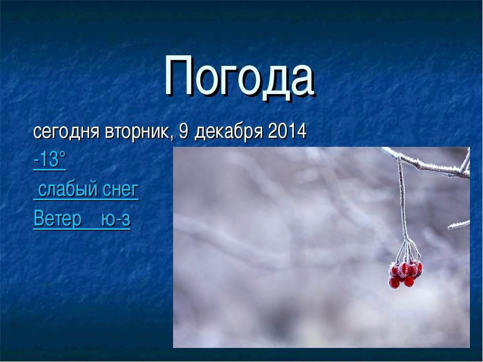 Погода сегодня вторник, 9 декабря 2014 -13° слабый снег Ветер ю-з