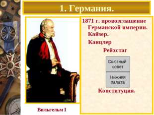 1871 г. провозглашение Германской империи. Кайзер. Канцлер Рейхстаг Конституц