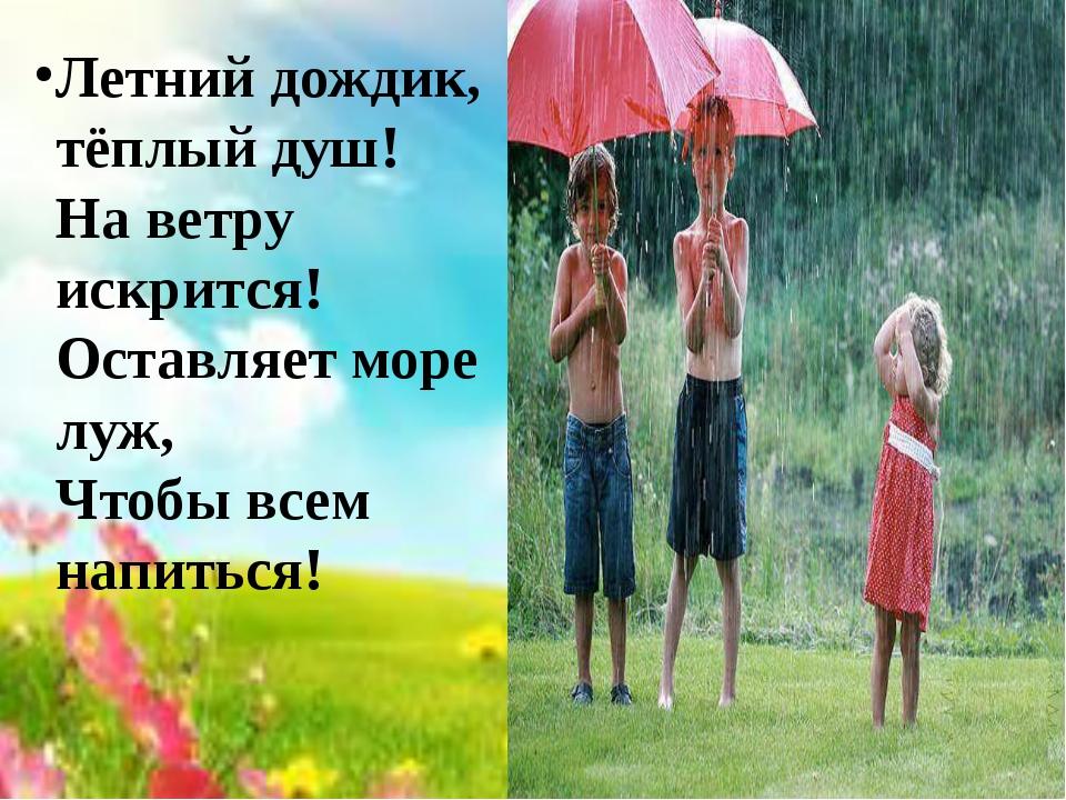 Летний дождик, тёплый душ! На ветру искрится! Оставляет море луж, Чтобы всем...