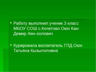 Работу выполнил ученик 3 класс МБОУ СОШ с.Кочетово Оюн Кан-Демир Аян-оолович
