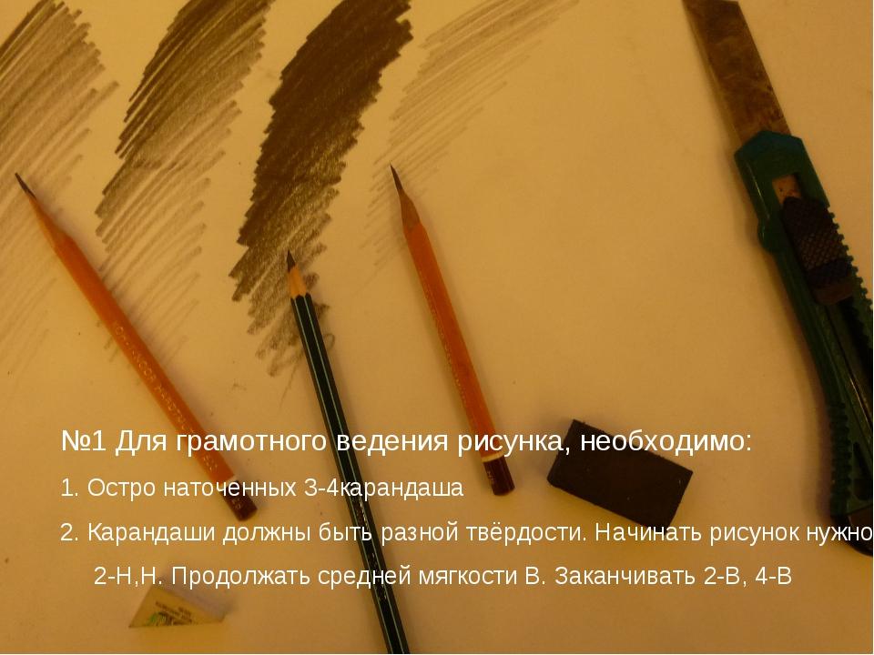 №1 Для грамотного ведения рисунка, необходимо: 1. Остро наточенных 3-4каранда...