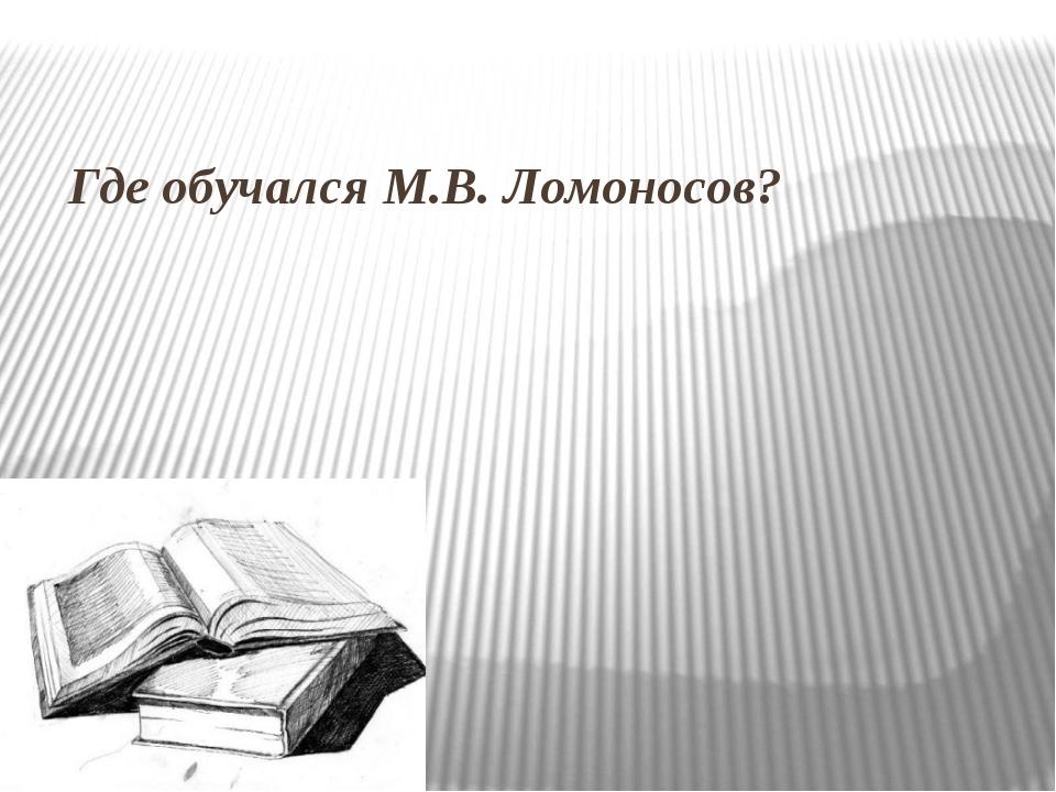 Где обучался М.В. Ломоносов?