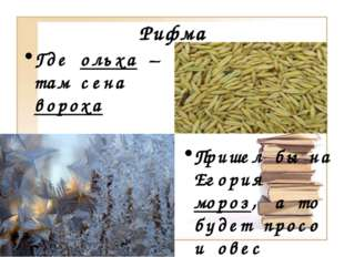 Рифма Где ольха – там сена вороха Пришел бы на Егория мороз, а то будет просо