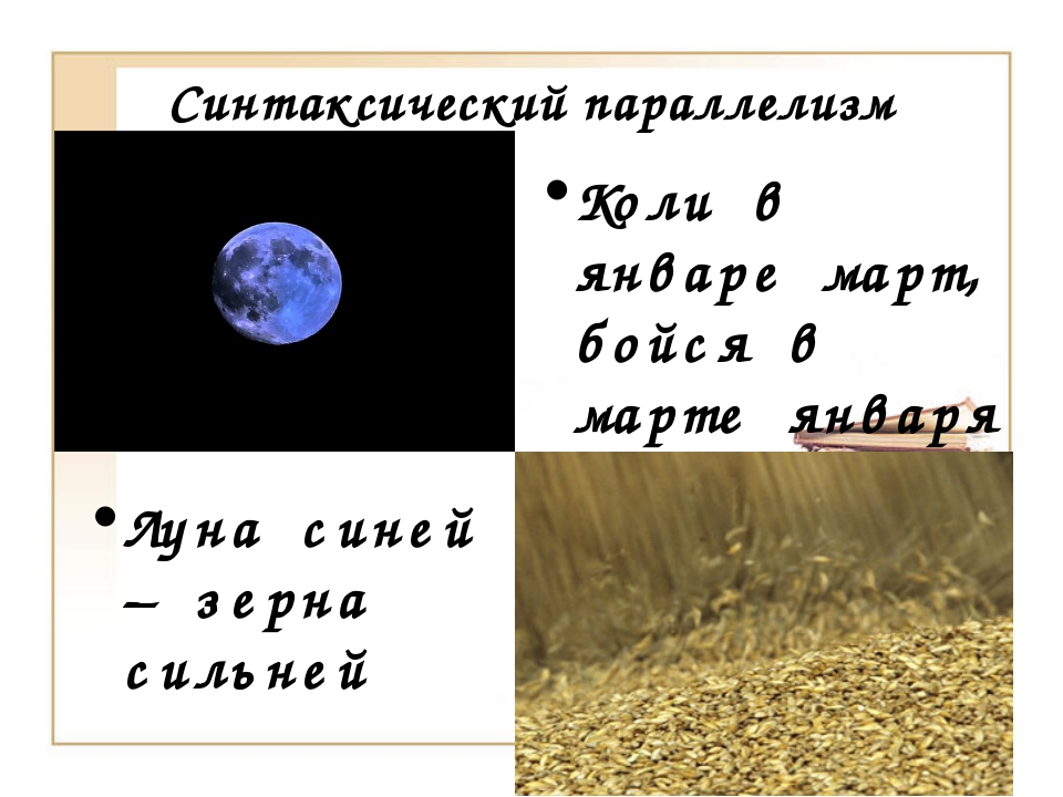 Синтаксический параллелизм Коли в январе март, бойся в марте января Луна сине...
