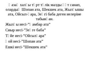 Қазақ халқы төрт түлік малды құт санап, олардың Шопан ата, Шекшек ата, Жылқыш
