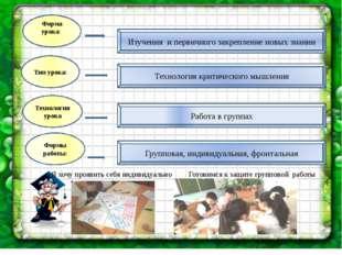 Форма урока: Технология урока Формы работы: Тип урока: Изучения и первичного