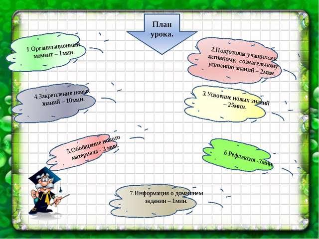 1.Организационный момент – 1мин. 2.Подготовка учащихся к активному, сознатель...