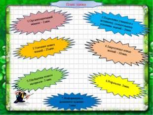 1.Организационный момент – 1мин. \ 2.Подготовка учащихся к активному, сознате