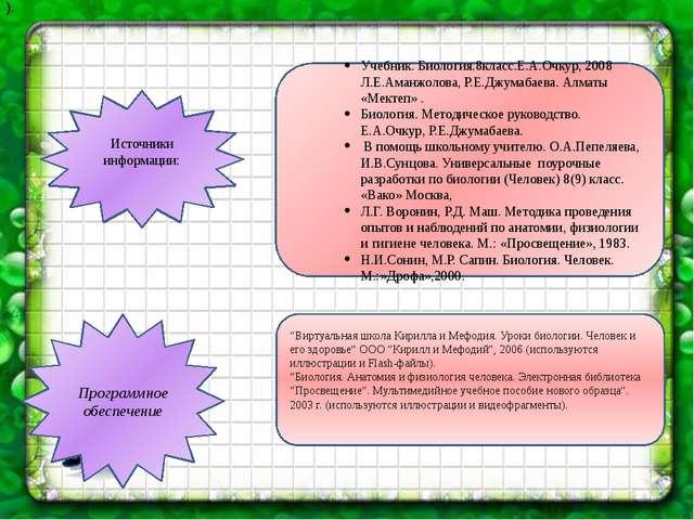 Источники информации: Учебник. Биология.8класс.Е.А.Очкур, 2008 Л.Е.Аманжолова...