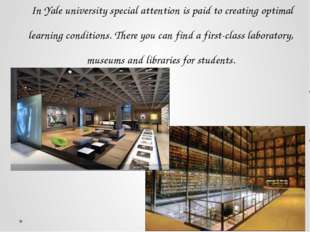 In Yale university special attention is paid to creating optimal learning c