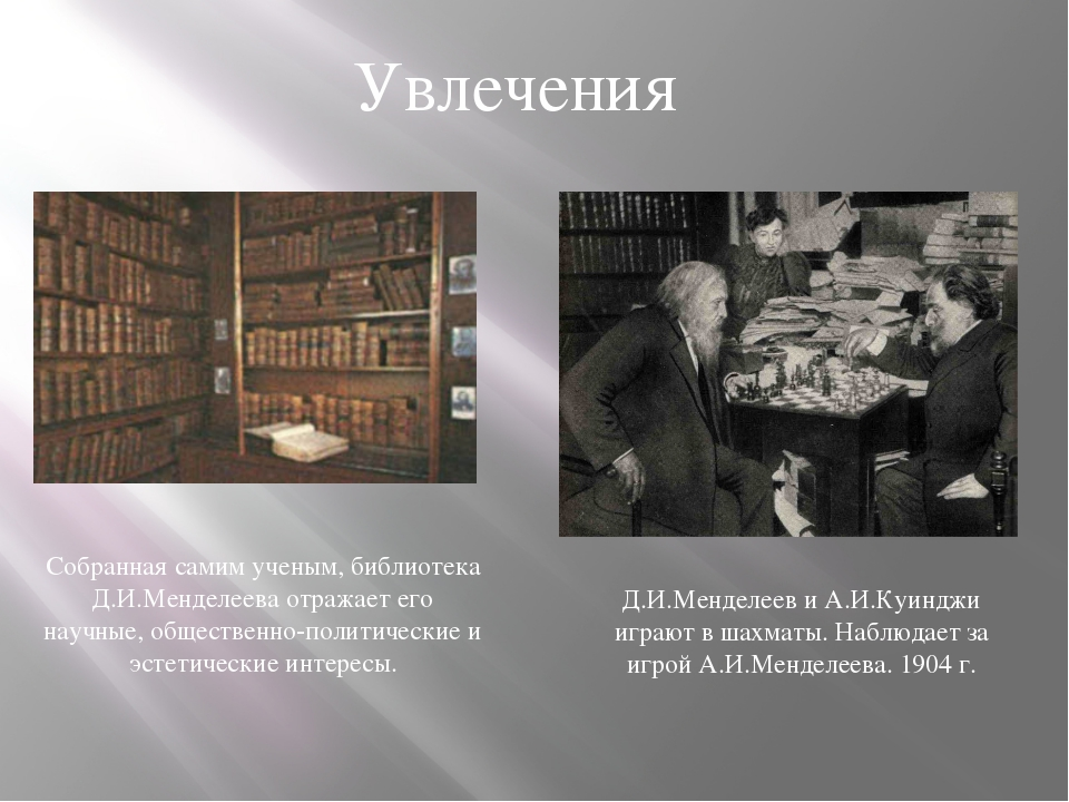 Увлечения Собранная самим ученым, библиотека Д.И.Менделеева отражает его науч...