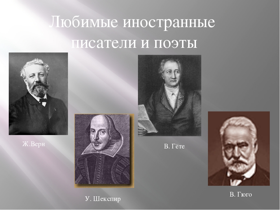 Любимые иностранные писатели и поэты У. Шекспир В. Гёте В. Гюго Ж.Верн