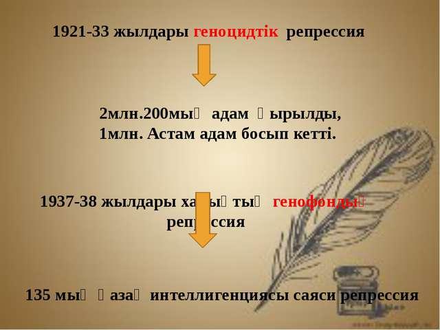 1921-33 жылдары геноцидтік репрессия 2млн.200мың адам қырылды, 1млн. Астам а...