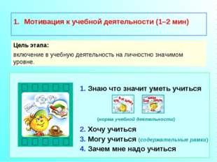 Мотивация к учебной деятельности (1–2 мин) Цель этапа: включение в учебную д