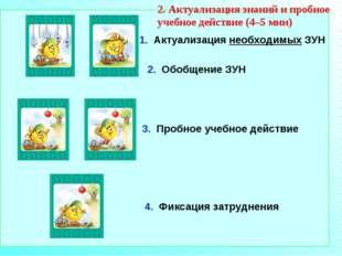 1. Актуализация необходимых ЗУН 3. Пробное учебное действие 4. Фиксация затру