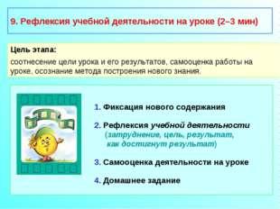 9. Рефлексия учебной деятельности на уроке (2–3 мин) Цель этапа: соотнесение