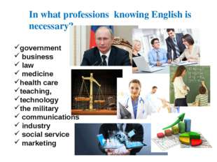In what professions knowing English is necessary? government business law med