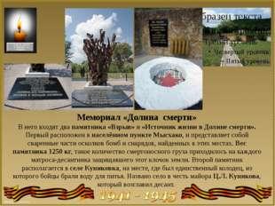 Мемориал «Долина смерти» В него входят два памятника «Взрыв» и «Источник жизн