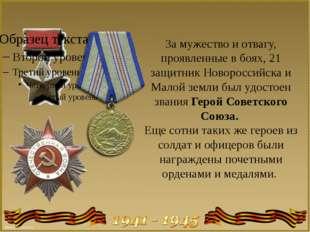 За мужество и отвагу, проявленные в боях, 21 защитник Новороссийска и Малой з