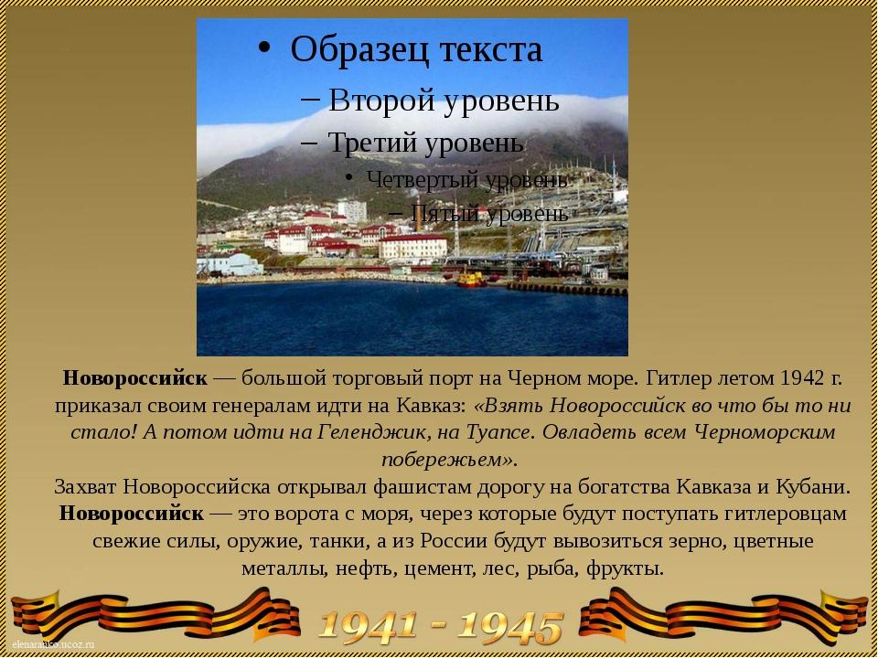Новороссийск — большой торговый порт на Черном море. Гитлер летом 1942 г. при...