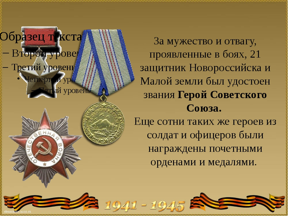 За мужество и отвагу, проявленные в боях, 21 защитник Новороссийска и Малой з...