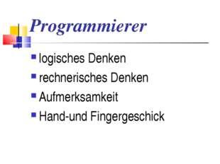 Programmierer logisches Denken rechnerisches Denken Aufmerksamkeit Hand-und F