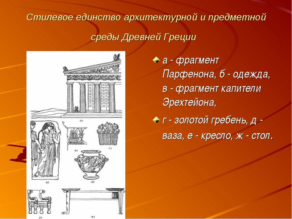 Стилевое единство архитектурной и предметной среды Древней Греции а - фрагмен...