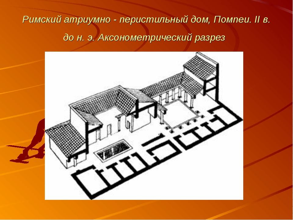 Римский атриумно - перистильный дом, Помпеи. II в. до н. э. Аксонометрический...