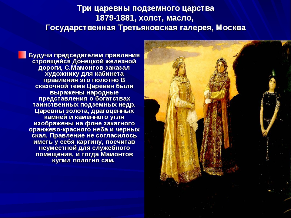 Три царевны подземного царства 1879-1881, холст, масло, Государственная Треть...