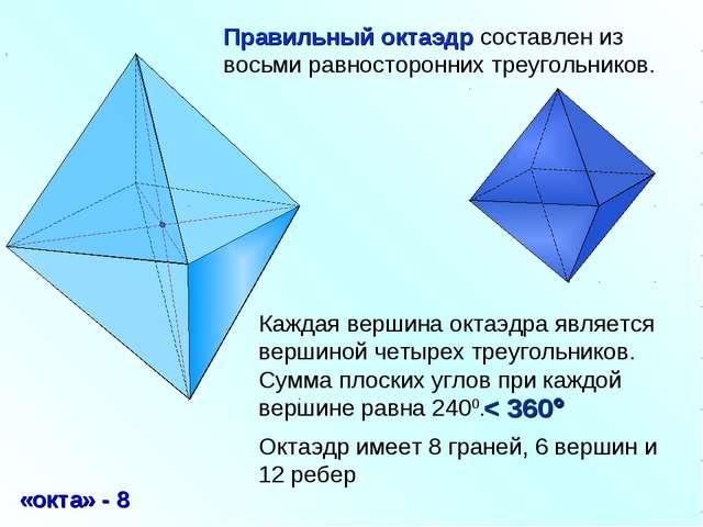 Правильный октаэдр составлен из восьми равносторонних треугольников. Каждая в...
