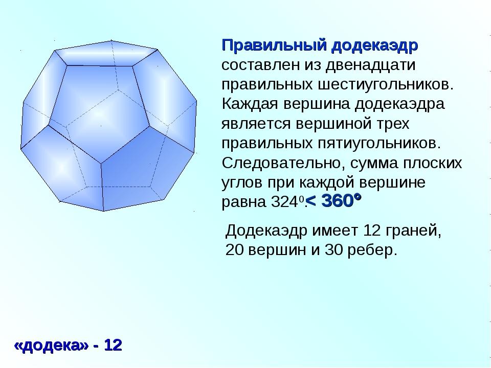 Правильный додекаэдр составлен из двенадцати правильных шестиугольников. Кажд...