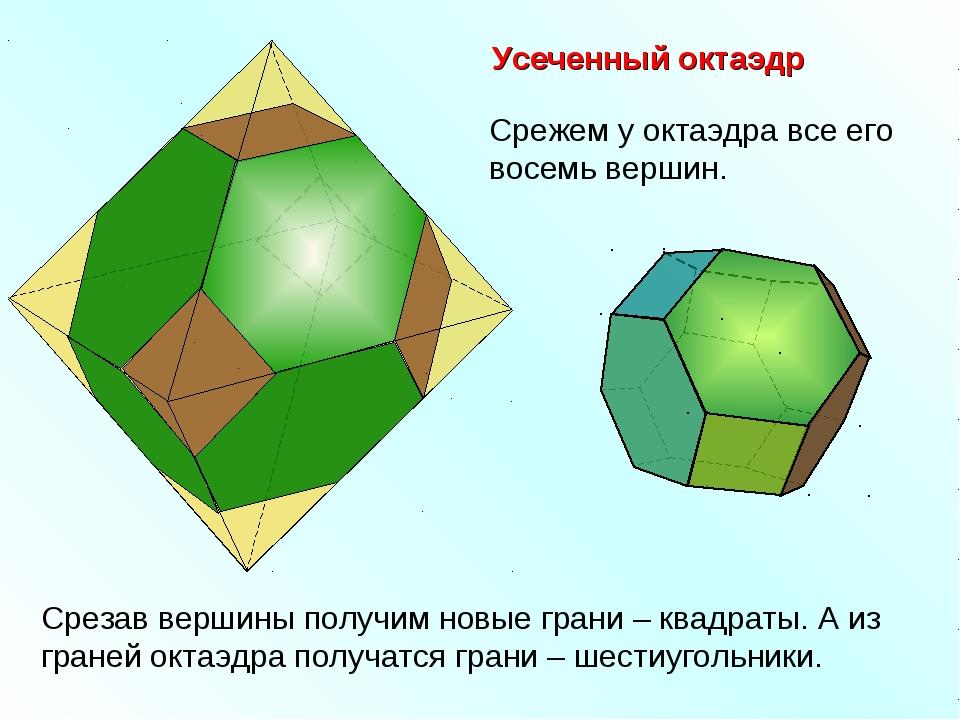 Усеченный октаэдр Срежем у октаэдра все его восемь вершин. Срезав вершины пол...