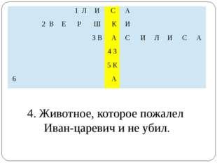 4. Животное, которое пожалел Иван-царевич и не убил.  1Л И С А   2В Е Р Ш