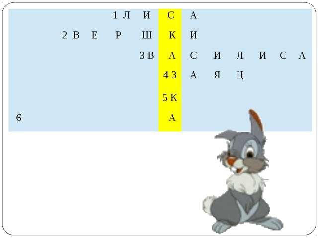 1Л И С А   2В Е Р Ш К И  3 В А С И Л И С А  4З А Я Ц   5К  6 А  1