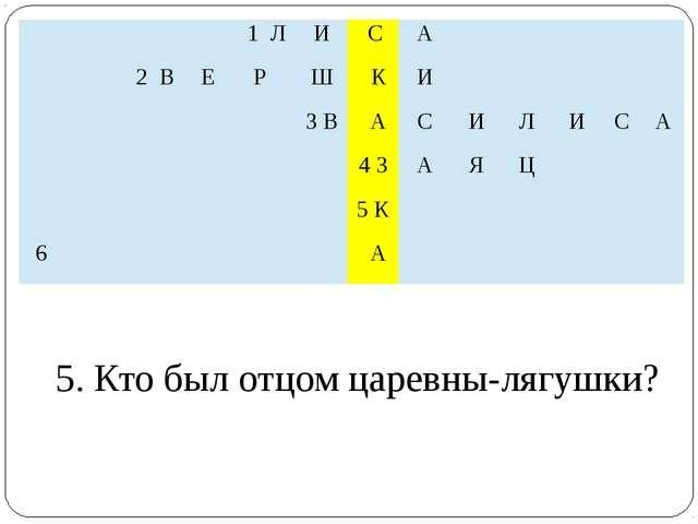 5. Кто был отцом царевны-лягушки?  1Л И С А   2В Е Р Ш К И  3 В А С И Л И...