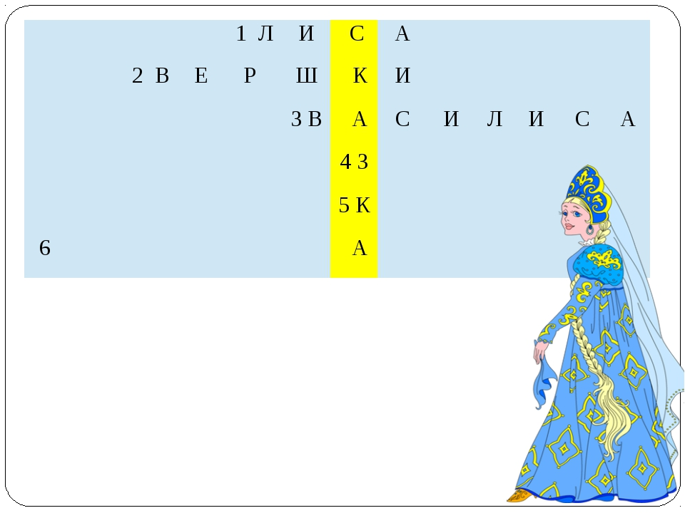 1Л И С А   2В Е Р Ш К И  3 В А С И Л И С А  4З   5К  6 А  1