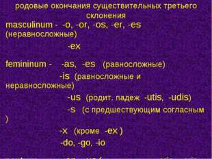 родовые окончания существительных третьего склонения masculinum - -o, -or, -o