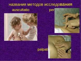 auscultatio percussio  palpatio названия методов исследования