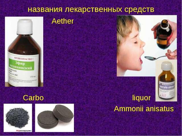 Aether   Carboliquor Ammonii anisatus названия лека...