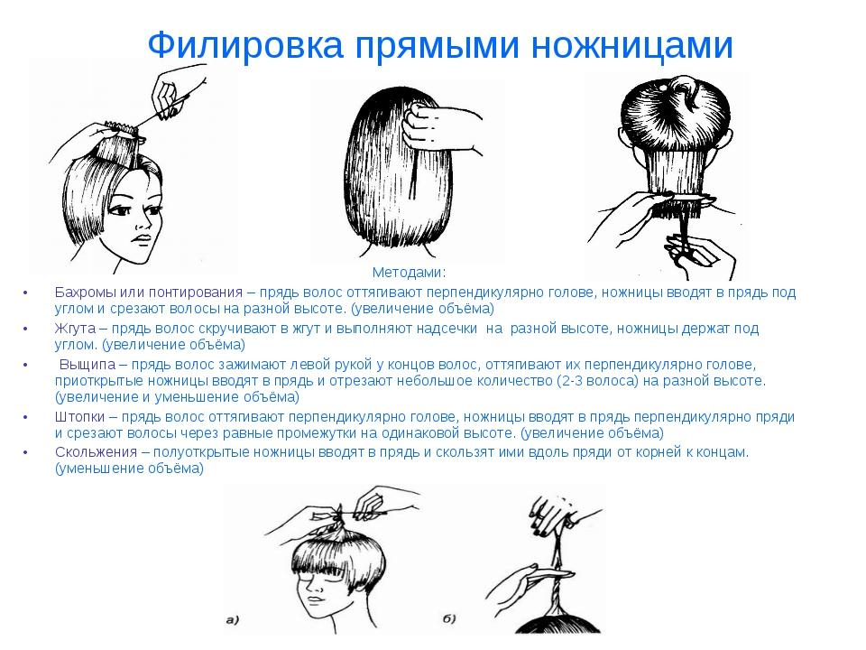 Методами: Бахромы или понтирования – прядь волос оттягивают перпендикулярно г...